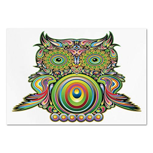 Large Wall Mural Sticker [ Owls Home Decor,Ornate Colorful Owl with Ethnic Elements Legend Eye Feather of Universe Psychedelic Artwork,Multi ] Self-adhesive Vinyl Wallpaper / Removable Modern Decorati ()