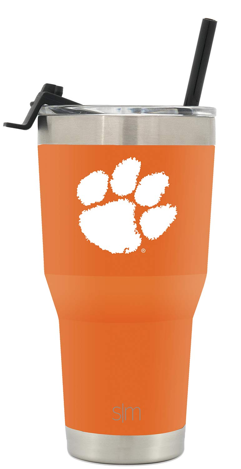 Simple Modern Clemson University 30oz Cruiser Tumbler with Straw & Flip Lid - Vacuum Insulated Stainless Steel Travel Mug - Tailgating Cup College Flask