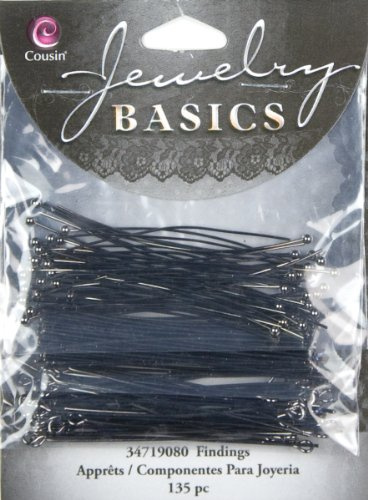 - Cousin Jewelry Basics Head/Eye Pin Pack, Gunmetal, 135-Piece