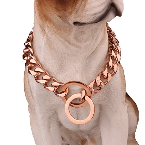 Jewelry Kingdom 1 Heavy Metal 15/17/19mm Solid Rose Gold Stainless Steel Curb Chain Pet Dog Choke for Pit Bull, Mastiff, Big Breeds 12-34 Inches (19mm wide, 14inch recommend dog's neck 10inch) by Jewelry Kingdom 1
