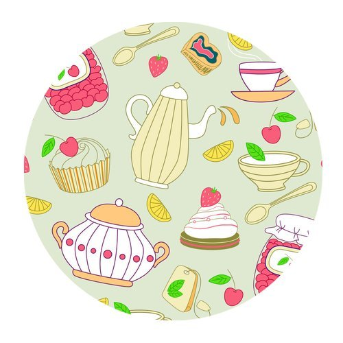 Original Art Drawing Tableware with Cream Cake Customized Round Mousepad Mat For Mouse Mice (Cream Tableware)