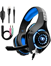 Gaming Headset for PS4 Xbox One, Over-Ear Gaming Headphones with Noise Reduction Mic Volume Control LED Light for PC PS5 Laptop Mac Tablet Smart Phone