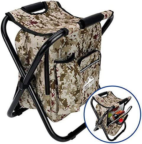 Camo Backpack Cooler and Stool – Collapsible Folding Camping Chair and Insulated Cooler Bag with Zippered Front Pocket and Bottle Pocket For Hiking, Beach and More – By Outrav