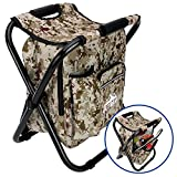 Outrav Camo Backpack Cooler and Stool - Collapsible Folding Camping Chair and Insulated