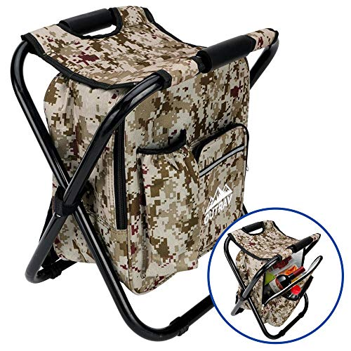 Outrav Camo Backpack Cooler and Stool - Collapsible Folding Camping Chair and Insulated Cooler Bag with Zippered Front Pocket and Bottle Pocket - for Hiking, Beach and More (Insulated Cooler Chair)