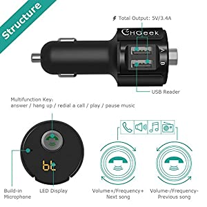 CHGeek Bluetooth FM Transmitter for car, Wireless Car Radio Bluetooth MP3  Player 3 4A Dual USB Car Charger Car Kit with LED Display Hands-free for