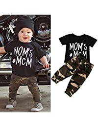 Baby Boy Clothes Sets, Franterd Letter Shirt Tops+Camouflage Pants Outfits