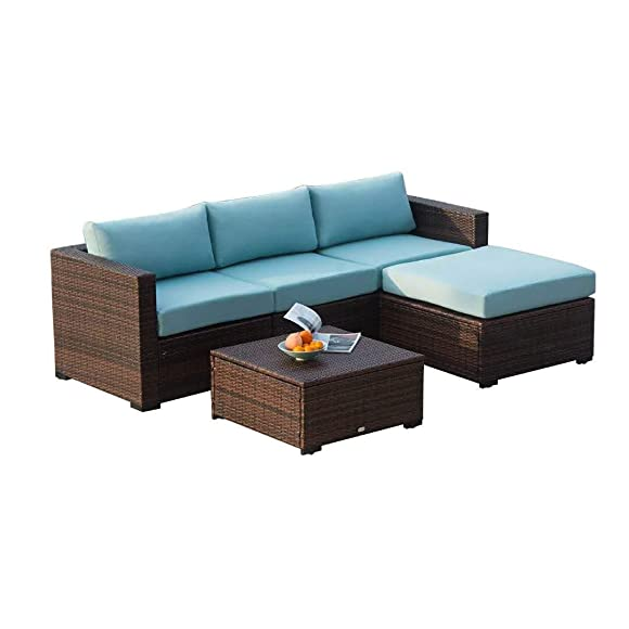 Auro Outdoor Furniture 5-Piece Sectional Sofa Set All-Weather Brown Wicker with Water Resistant Olefin Cushions for Patio Backyard Porch Pool Incl. Waterproof Cover Clips Blue