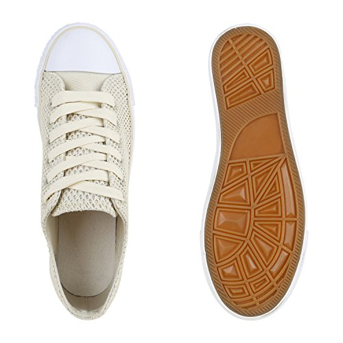 Stiefelparadies Glitzer Freizeit Low Schnürer Schuhe Sneaker Creme Flandell Flats Glitzer Metallic Sportschuhe Damen Turnschuhe Schnürschuhe r6pxYr