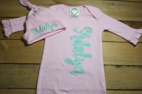 Personalized Baby Gown Hat Set Monogrammed Customized Applique Embroidered Baby Shower Coming Take Home Outfit ()