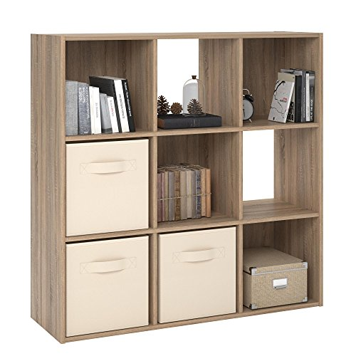 RealRooms Tally 9 Cube Bookcase, Weathered Oak
