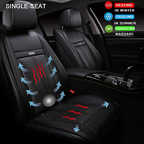 Fochutech Heated Seat Cover, Universal 12V Heating Pad Car Seat Warmers, Heated Seat Cushion Seat Heater and Seat Cooler Massage Cover, Fit for Auto Supplies Home Office Chair(Single-seated, Black)