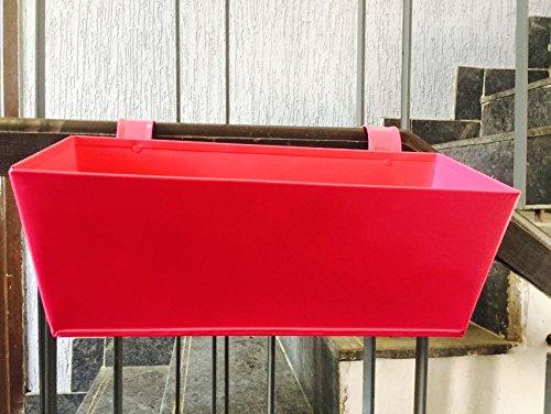 First Smart Deal Metal Railing Rectangular Planter Plain large - Pink