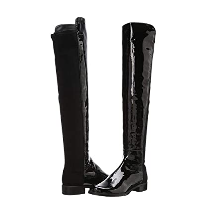 581090943e1 FCXBQ Women's Flat Knee Boots Low Heel Patent Leather Knight Boots High  Boots Spell Leather Round
