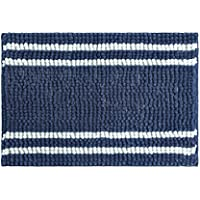 stylehouse WK682519 Striped Textured Noodle Rug with Latex Backing,Navy,20 X 30