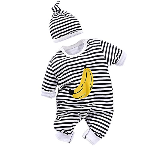 Fairy Baby Newborn Boys Girls Cotton Romper Outfit and Hat 2PCS Set,3-6M,Stripe (Banana Clothing)