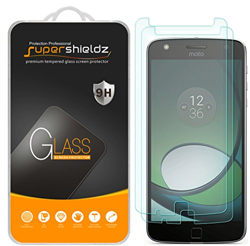 [2-Pack] Supershieldz for Moto Z Play/Moto Z Play Droid Tempered Glass Screen Protector, Anti-Scratch, Anti-Fingerprint, Bubble Free, Lifetime Replacement Warranty