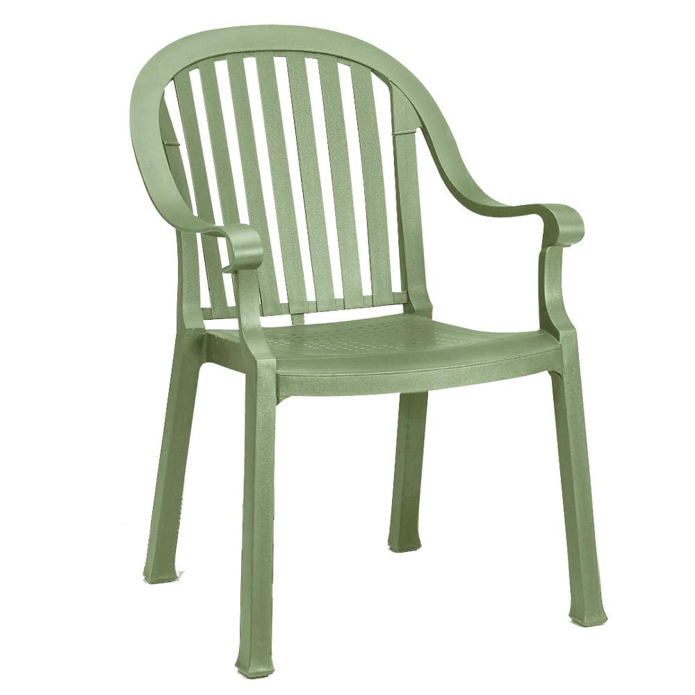 Grosfillex US650721 Colombo Stacking Armchair, Sage Green (Case of 12)