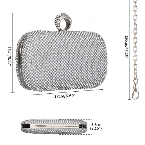 Women's Hard Crystal Shining Clutches Shape Rhinestones Kaever Purses Case Evening Handbag Bags Square Silver dYw1vq