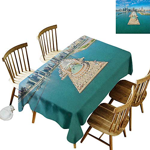 Easy to Care for Leakproof and Durable Long tablecloths Outdoor Picnic Aerial Panorama of Navy Pier Marine Metropolis Big City Silhouette View W60 x L126 Inch Multicolor
