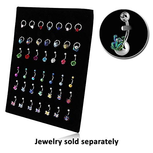 Belly Jewelry Display (Bubble Display-42 Clip Velvet Board Two Rows Ball Closure Ring 4 Rows Navel Banana For Use In Acrylic Cabinet 17.8X22.9Cm)