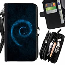 SHIMIN FOR HUAWEI NEXUS 6P Blue Swirl Zipper Wallet With Strap Card Holder Case Cover