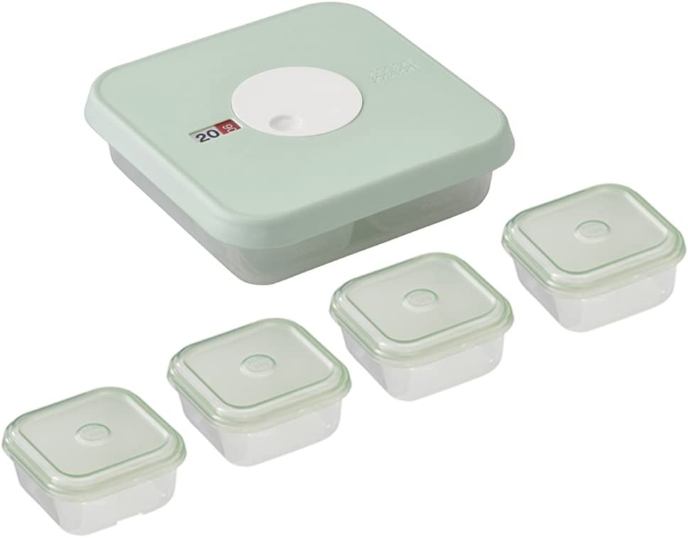 Joseph Joseph Dial 5 Piece Stage 2 Datable Baby Food Container Set, Blue