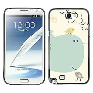 X-ray Impreso colorido protector duro espalda Funda piel de Shell para SAMSUNG Galaxy Note 2 II / N7100 - Cartoon Kids Children Whale Sea Birds