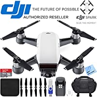 DJI Spark Alpine White Quadcopter Drone 32GB Essentials Bundle Spark Drone Essentials Bundle (DJI Spark Drone Essentials Bundle)
