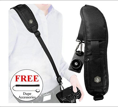 Dupe Accessories Quick Release Camera Strap + Lens Cap Keeper Leash Holder. Perfect for All Camera Types: DSLR Nikon Canon. Features Extra Long Adjustable Neck Strap