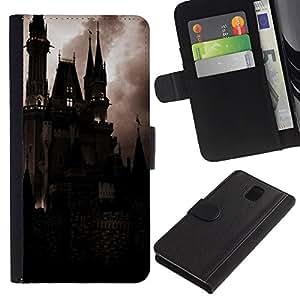 Billetera de Cuero Caso del tirón Titular de la tarjeta Carcasa Funda del zurriago para Samsung Galaxy Note 3 III N9000 N9002 N9005 / Business Style Spooky Night Dracula Vampire
