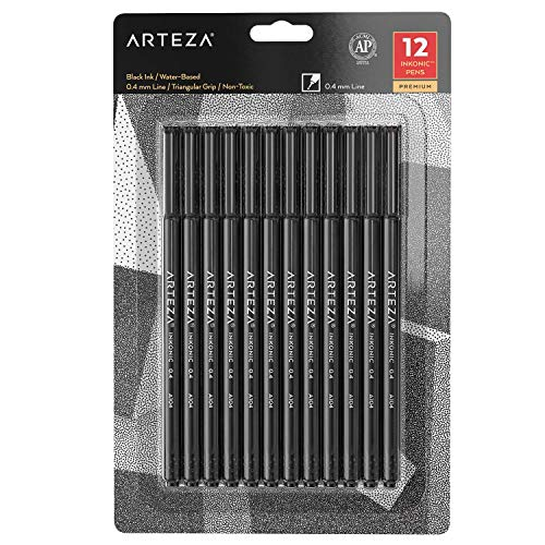 ARTEZA Fineliner Fine Point Pens, Fine Tip Markers, Black Color (0.4 mm Tips, Set of 12)
