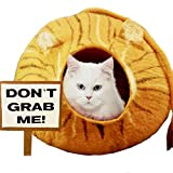 "Safe Space for Snowflake Purrrgressive Large Natural Felt Wool Cat Cave with Bonus ""Impeach"" Bumper Sticker"