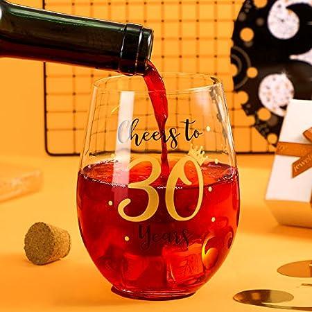 Copa de Vino sin Tallo de Cheer to 30 Birthday Copa de Vino de 30 Cumpleaños para Decoración de Fiesta de 30 Cumpleaños Boda Aniversario de Mujeres Hombres 17 oz