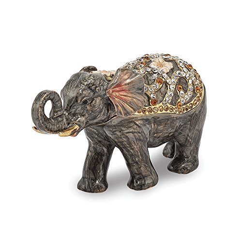 - Jere Luxury Giftware Bejeweled Princess Jaipur Elephant, Pewter with Enamel Collectible Trinket Box with Matching Pendant Necklace
