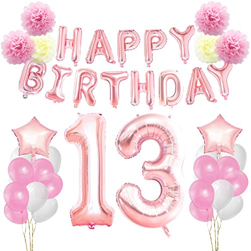 Banners Birthday 13th (KUNGYO 13th Birthday Decorations Kit-Rose Gold Happy birthday Banner- Giant Number 13 and Star Helium Foil Balloons, Ribbons, Paper Pom Flowers, Latex Balloons, Elegant Party Supplies for Girl)