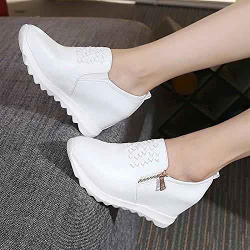 Une Pente Pied Talon Un un Couche Augmentent Épaisse Femme En Décontractée Respirable White Fond Interne Chaussure Seule L'une De Khskx qSEA77