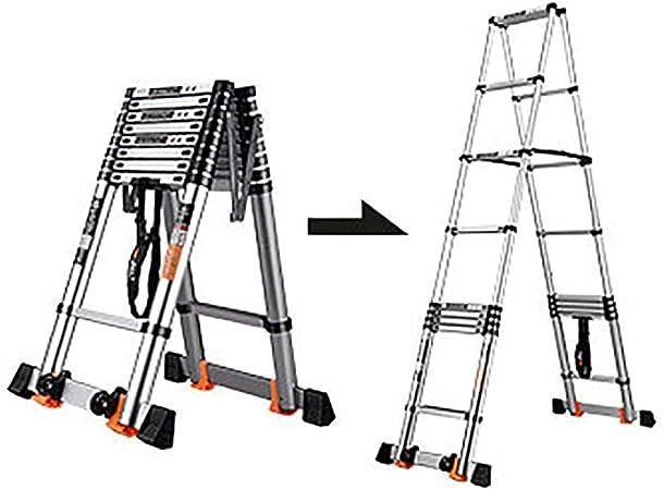 Escalera de extensión telescópica de aluminio 2.3M-4.9M Escaleras de peldaños plegables con marco en A Escalera tipo loft con barra estabilizadora for interiores y exteriores (Size : 2.7m/8.8ft) : Amazon.es: Hogar