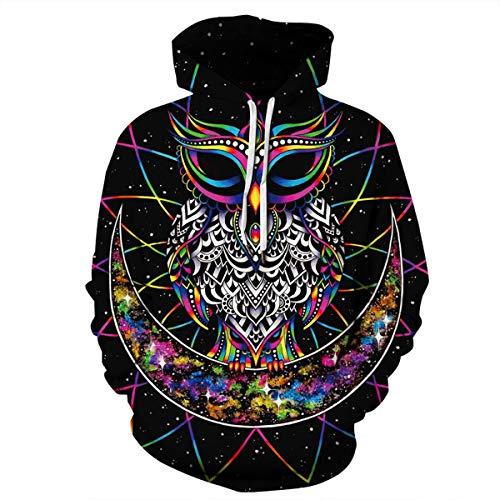 Men's Hooded Long Sleeve 3D Digital Print Colorful Parrot Design Couple Pullover Hoodies Fashion Hoodies(M,Black) by JJCat