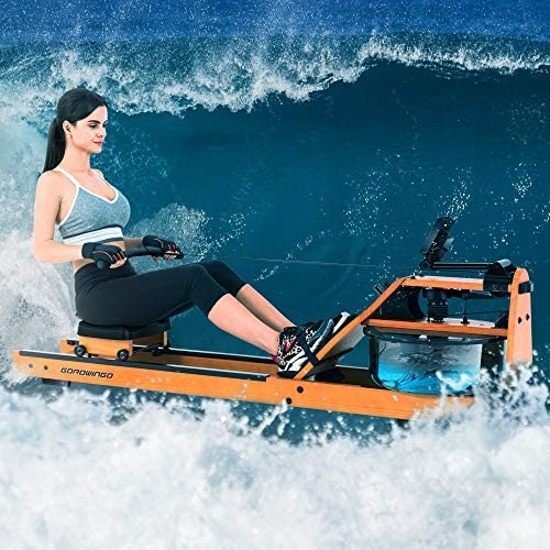 GOROWINGO Water Rower Rowing Machine,Wood Indoor Row Machine with LCD Monitor for Home Cardio and Strength Exercise