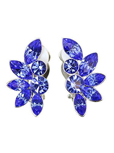 (Faship Gorgeous Blue Floral Clip On Style Earrings)