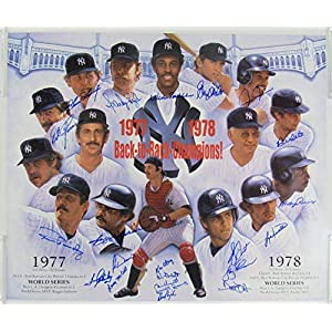 1977 78 Yankees Team Signed 22x26 Doo Oh Lithograph Poster Jackson Gossage Guidr Autographed MLB Art