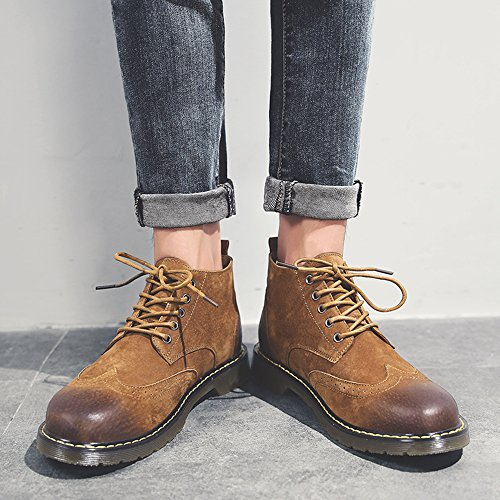 Chukka Leather Boot Men's Brown Suede Shoes Lace Fashion Ankle Winter up SUNROLAN Casual Boots v1Bw0