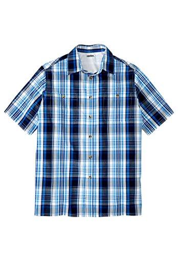 Mens Short Sleeve 2 Button (KingSize Men's Big & Tall Short-Sleeve Plaid Sport Shirt, Navy Plaid Tall-2Xl)