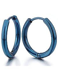 Pair Stainless Steel Blue Circle Huggie Hinged Hoop Earrings for Men Women
