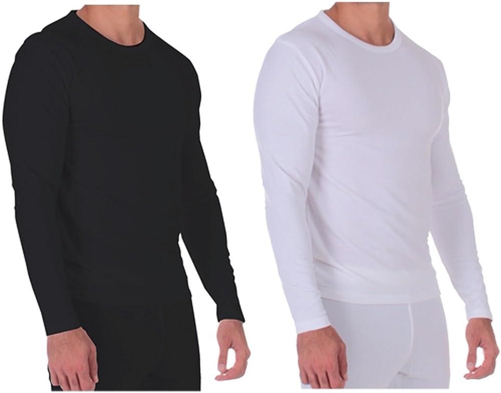 Men's Thermal Two Tops (1-Black, 1 White) Lightweight Ultra Soft Fleece,Base Layer, Black/White XLarge
