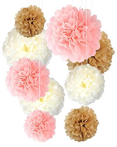 Tissue Paper Pom Poms Neutral Pink Gold Decorations - 9 Pcs 14