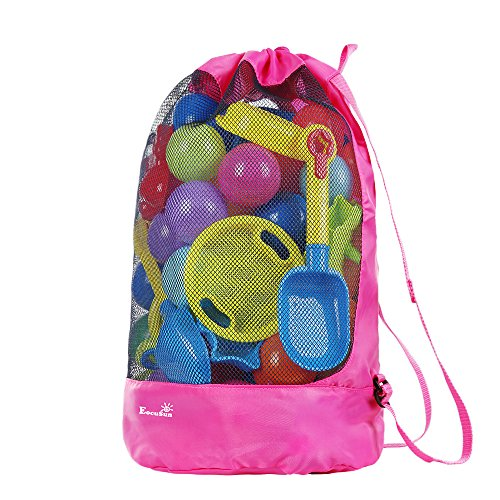 Beach Toy Bag, EocuSun Large Mesh Toys Storage Bags Durable Sand Away Drawstring Beach Backpack Swim and Pool Beach Bag Tote Packs, Stay Away From Sand and Water(hot pink)