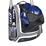 Boar Athletics Youth Baseball Bag - Baseball Gear Backpack for Boys - Softball Bag with Helmet Holder - Shoe Compartment & Fence Hook (Gray)