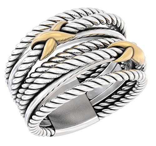 Crossover Jewel (Designer Inspired Sterling Silver and 18K Yellow Gold Plated Double X Crossover Ring Size 6.5, 7 and 9 (10))